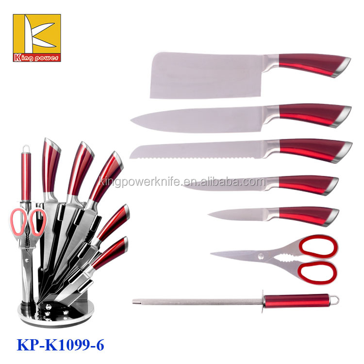 Good quality acrylic stand 8pcs stainless steel kitchen knife set