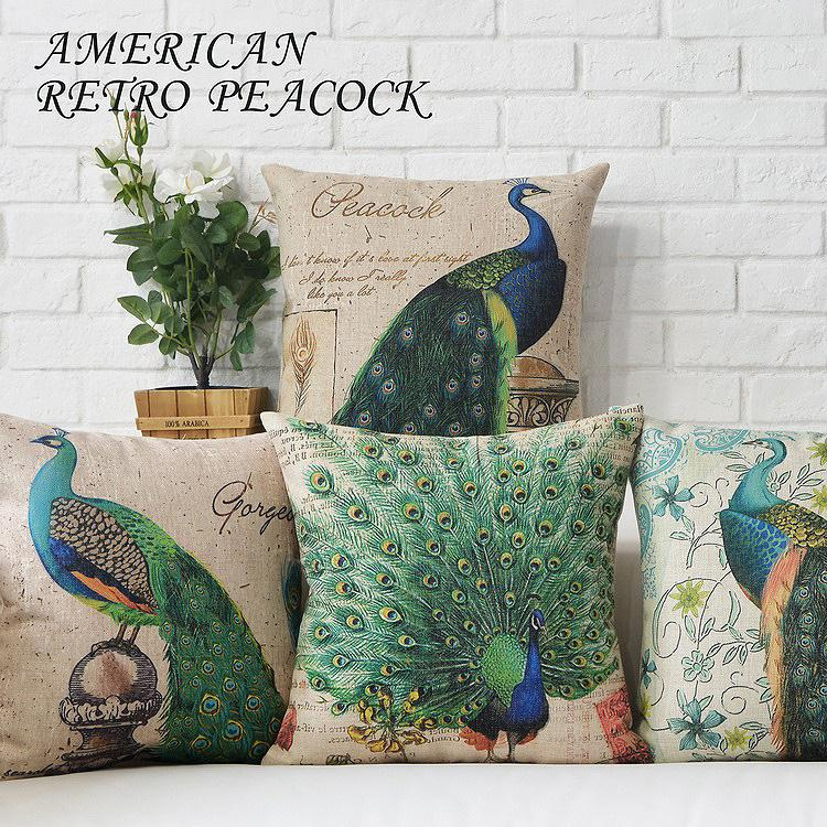 Free Shipping Linen Throw Pillow Hot Sale New Fashion Wedding Decor 45cm American style peacock Home Office Sofa Car Cushion