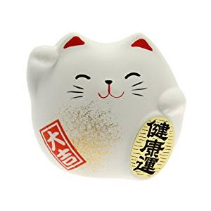 Feng Shui Maneki Neko Lucky Cat White(Both hands raised)