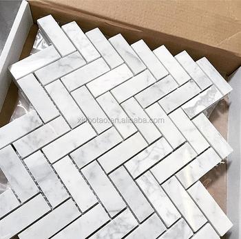 Hot Carrara White Herringbone Marble