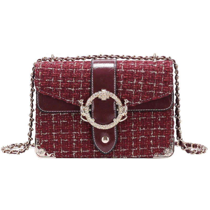 Fashion Street Checked Design Pattern Small Cross Body Bags with Metail Chain <strong>Shoulder</strong>