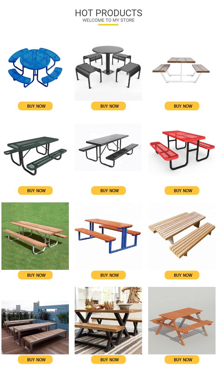 Banc de pique-nique en bois et plastique, ensemble de table avec pieds en métal, massif