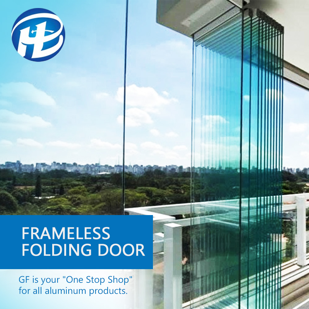 Aluminum hotel Commercial Accordion Lightweight Soundproof Frameless Glass Interior Bi Folding Glass wall Screen <strong>Door</strong>