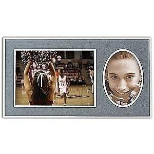 Player/Team 7x5/3x5 Gray MEMORY MATES Cardstock double photo frame sold in 10's - 5x7