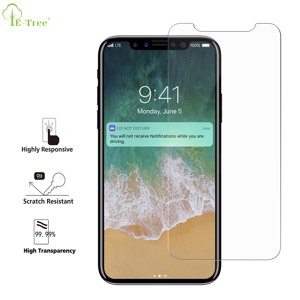 2017 Newest Cell Phone 2.5D 9H Hardness Touch Screen Tempered Glass Screen Protector For iPhone X