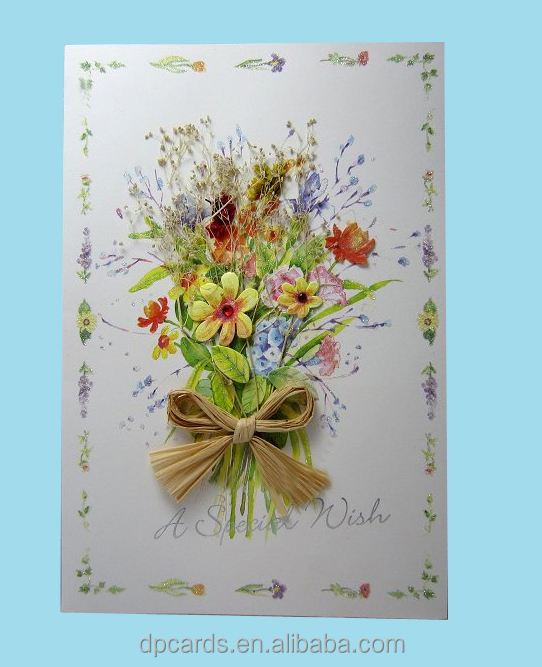 High Quality Dried Flowers Greeting Cards Handmade With Best Price