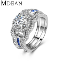 MDEAN MSR411 White Gold Plated Ring Sets for women engagement ring CZ diamond jewelry vintage women 3 rings fashion Accessories
