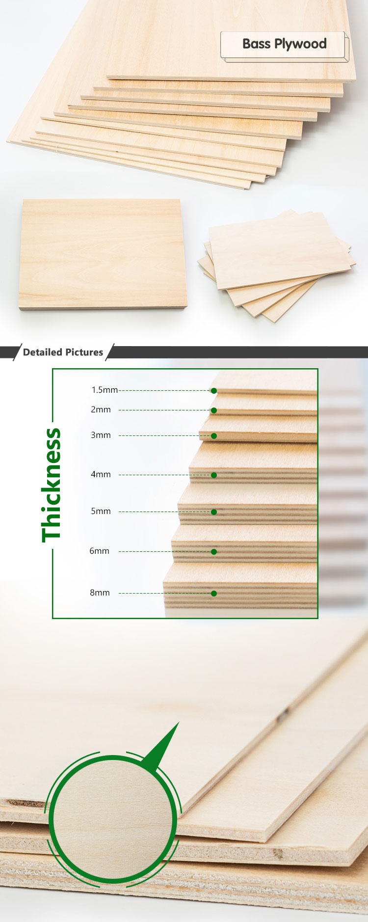 Wholesale Aircraft Grade 1MM 5MM Wada Basswood Bass Plywood Sheet 4MM Jas For Laser Cutting 3MM 2MM Basswood Plywoods