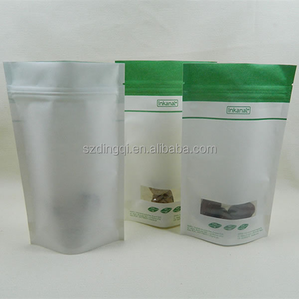 food packaging plastic bags with window/granola packaging bag/food safe plastic bags