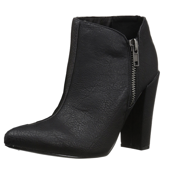 Very fashionable block mid low heel black color snake skin design cow leather short boots