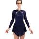 Figure Skating Dress Women Girls Deep Blue Rhinestone Elasticity Ice Skating Dresses Ice Skate Practice Performance Wear ZH8041