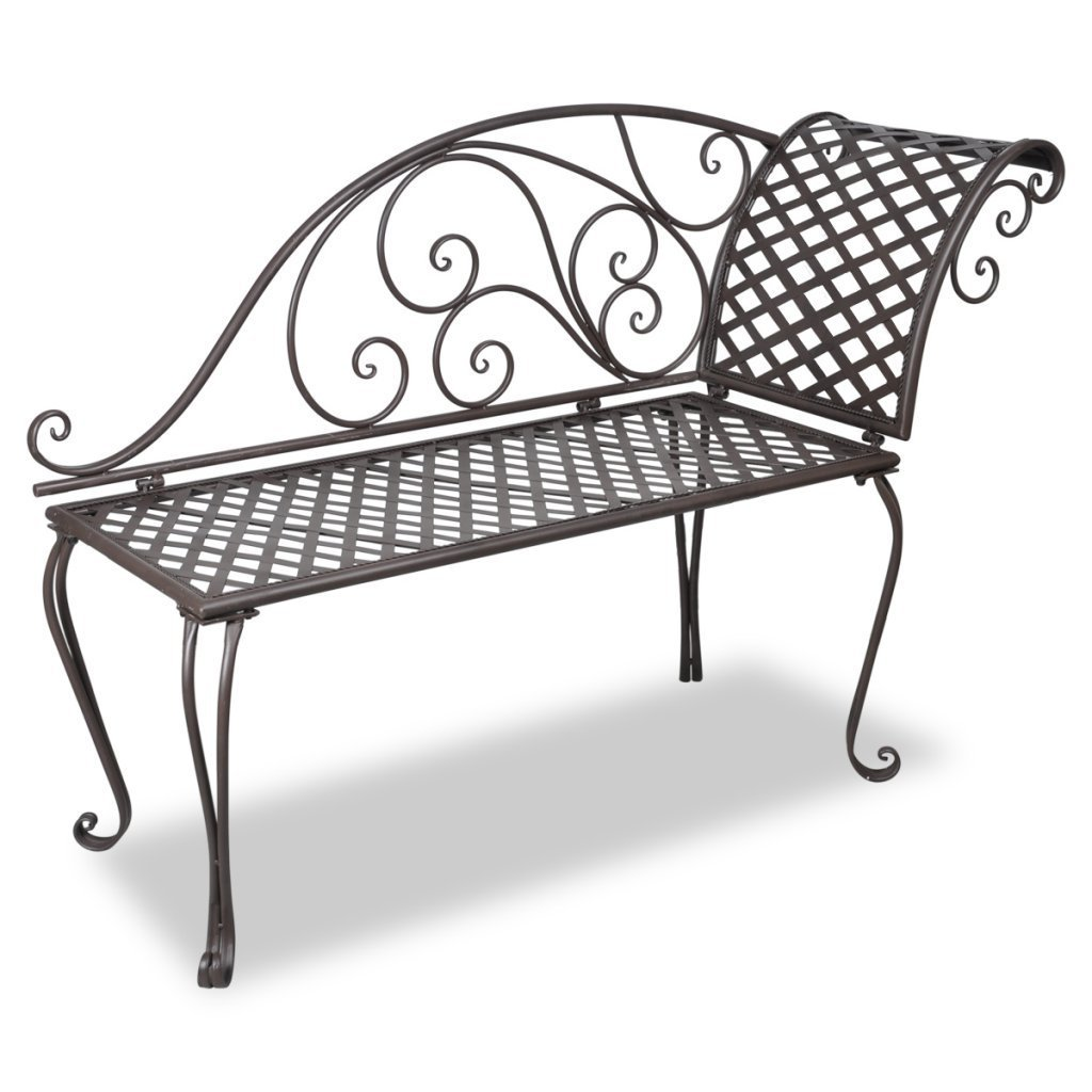Anself Metal Patio Garden Chaise Lounge Chairs Fainting Seat Antique Brown