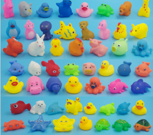 Promotional colorful cheap soft mini lovely animal shape rubber bath toys for baby
