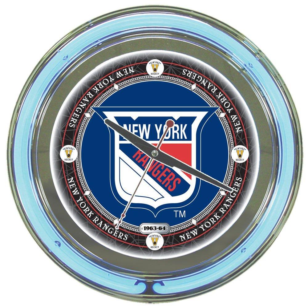 "NHL New York Rangers Chrome Double Ring Neon Clock, 14"""
