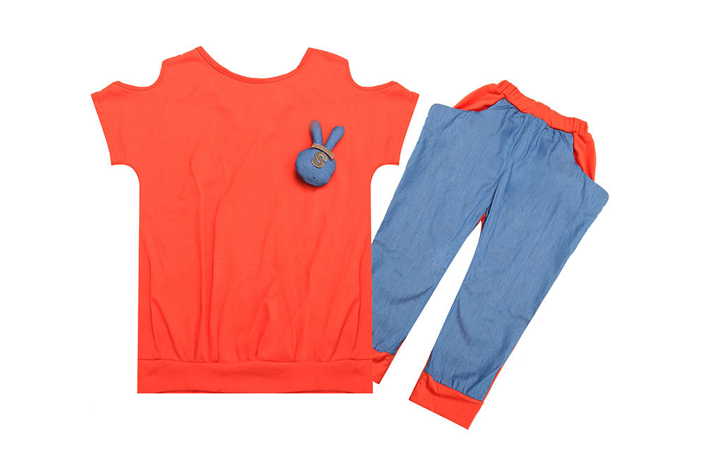 cute design little girl`s shirts+shorts high quality kids orange summer suit