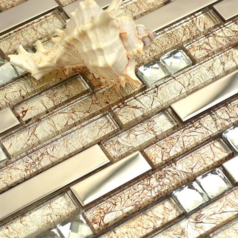 Bathroom Tiles Mosaic Border: Short And Long Strip Glass Mixed Metal Golden & Diamond