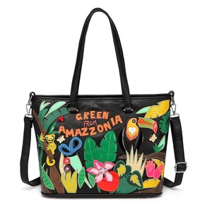 Digital printing ladies handbags large tote bag embroidery women shoulder bags