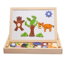 Fantastic Learning Education Wooden Animal Magnetic Puzzle Multifunction Writing Drawing Toys Board for Kids Baby Children