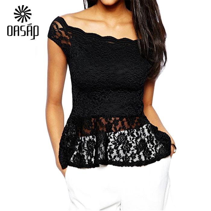 8c29686d2 Buy OASAP Women Black off-shoulder Lace Peplum Shirt Top Blusas De Renda  Feminino Top Cropped-60716 in Cheap Price on m.alibaba.com