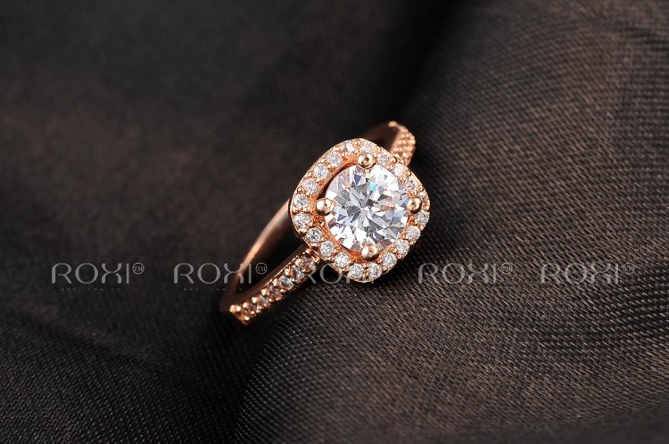 2018 Roxi Brand Anillos Fashion Jewelry Rings For Women White Rose Gold Color Zirconia Environmental Rhinestone Wedding Rings