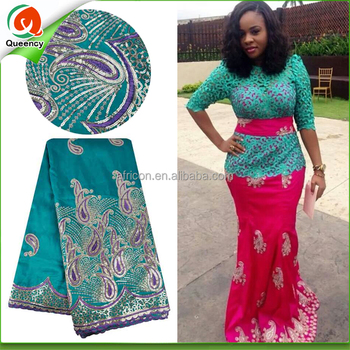 2dbd326c07009a GQ062 Queency New African Raw Silk Embroidery Nigeria George Lace with  Blouse Indian George Wrappers Fabric