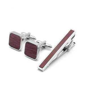 Retro Traditionally Design Wood Cheap Tie Clip And Cufflinks