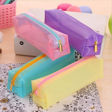 Cute Kawaii Transparent Jelly Glue Pencil Bag Lovely Candy Color Pencil Box For Kids School Supplies Free Shipping 1210