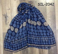 Bulk customize oem factory hot selling long chiffon fabric girl scarves muffler mascadas blue print polka dot voile gauze hijab