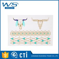 New products OEM quality simple design body art 3d metallic temporary tattoo