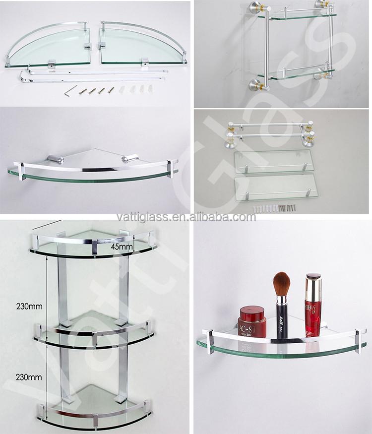 Estanteria de vidrio esquina ba o cocina estanteria de vidrio tres capas de vidrio estanterias - Estanterias de cristal para banos ...