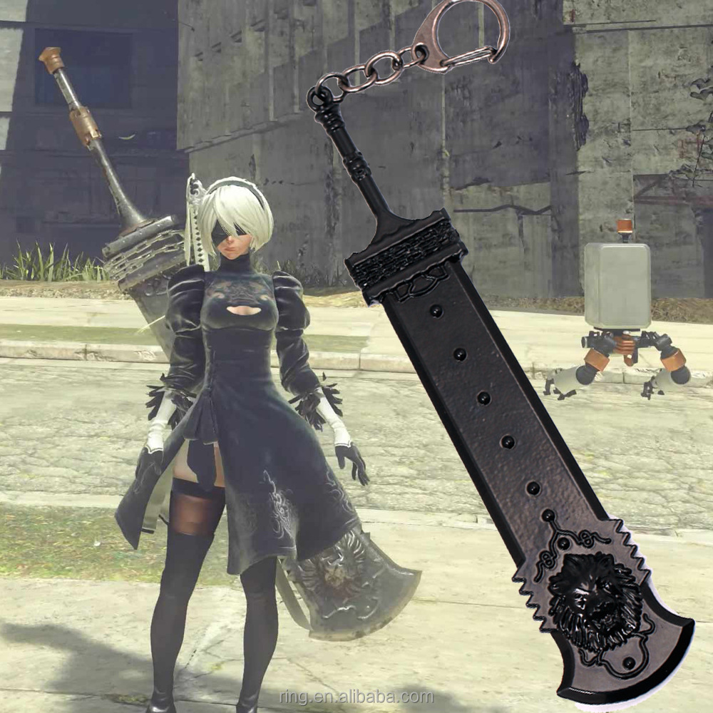 15CM NieR Automata 2B Weapon Model Keychain Alloy Key Chains Game Accessories Keyring