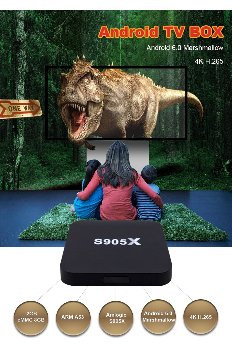 JUNUO china manufacture 2017 latest 4K HD H.265 android 6.0 stream tv box