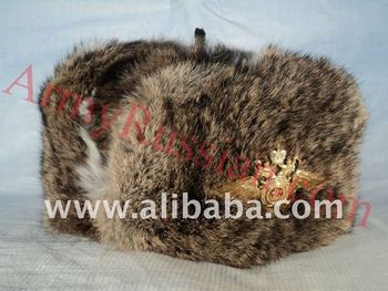 5e8cdb4e78a8a7 Russian Winter Warm Rabbit Fur Alaska Cossack Hat Double Headed Eagle Emblem