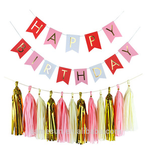 Tissue Paper Tassel Garland And Happy Birthday Paper Banner Decoration Set For Party