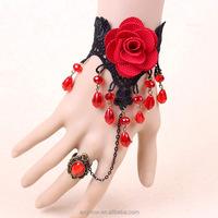 OEM package Ladies Lace Retro Vintage Crystal Beads Black Bracelet Ring Set