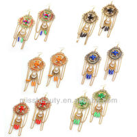 Fashion long chain mix beads earring India jewelry