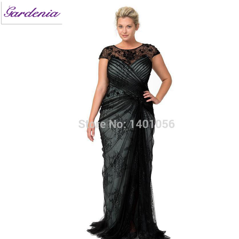 a16bdc0ccdb Get Quotations · Vestido De 2015 Plus Size Black Mother Evening Dresses Cap  Sleeves Prom Gown for Big Ladies