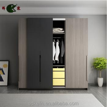 High Quality Mdf/particle Board Grey/walnut Color Two Door Bedroom ...