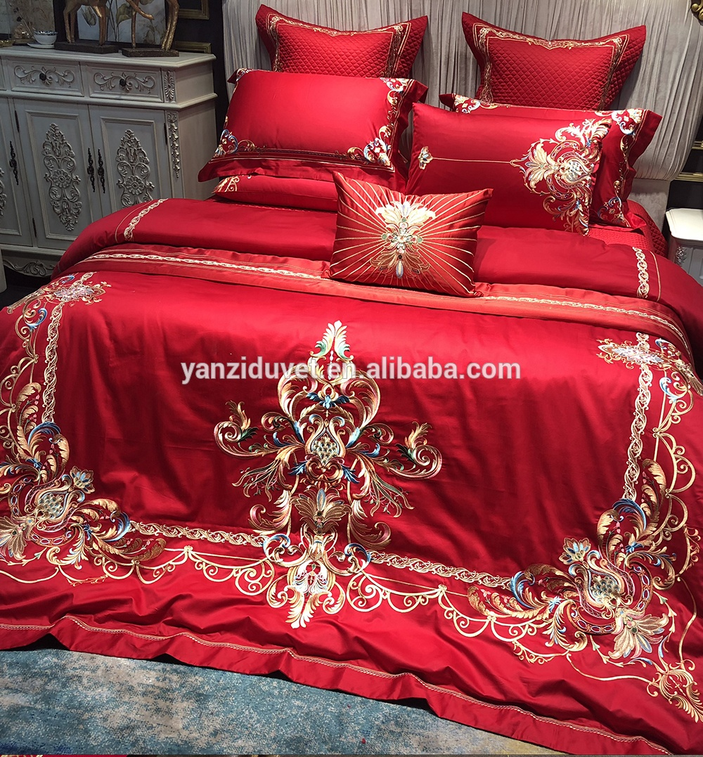 Luxury embroidered big red cotton comforter duvet cover queen satin wedding 10 pcs bedding sets