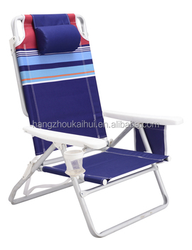Rust Proof Aluminum Backpack Beach Chair Folding Ultra Light With Storage Pouch