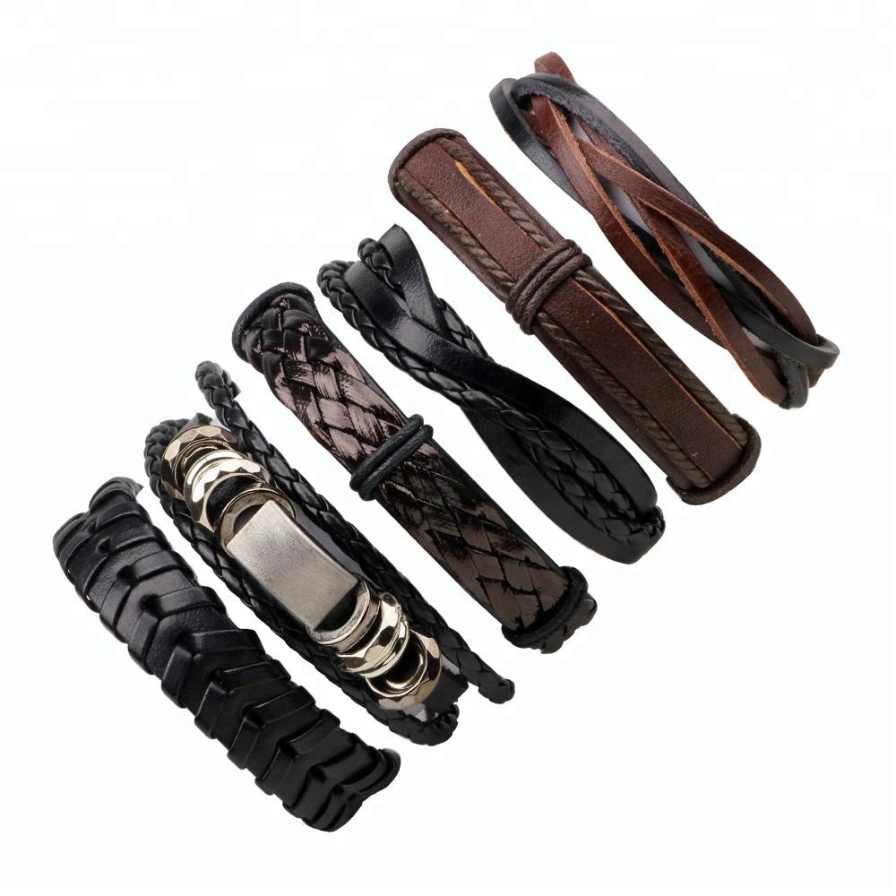 Mens Womens DIY Hand Woven braided Wax Rope Genuine Leather Bracelets & Bangles, Brown+black