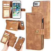 IKFCASE Detachable PU leather 2 in 1 protective folio flip wallet case with card holder for iPhone 8 plus