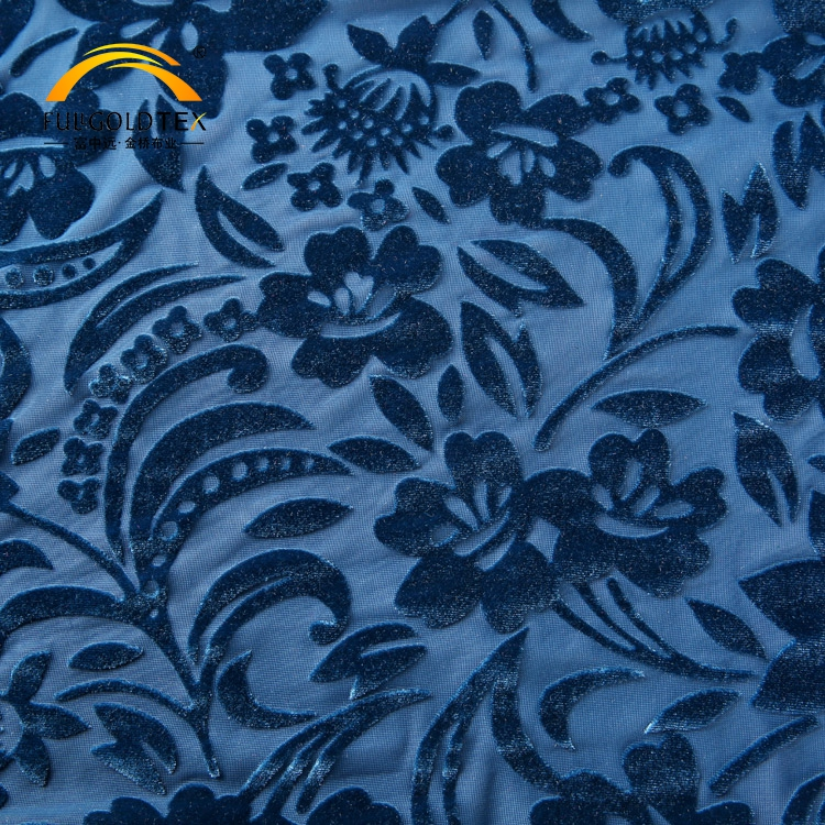 Most popular soft blue burnout yarn dye knit stretch german velvet fabric