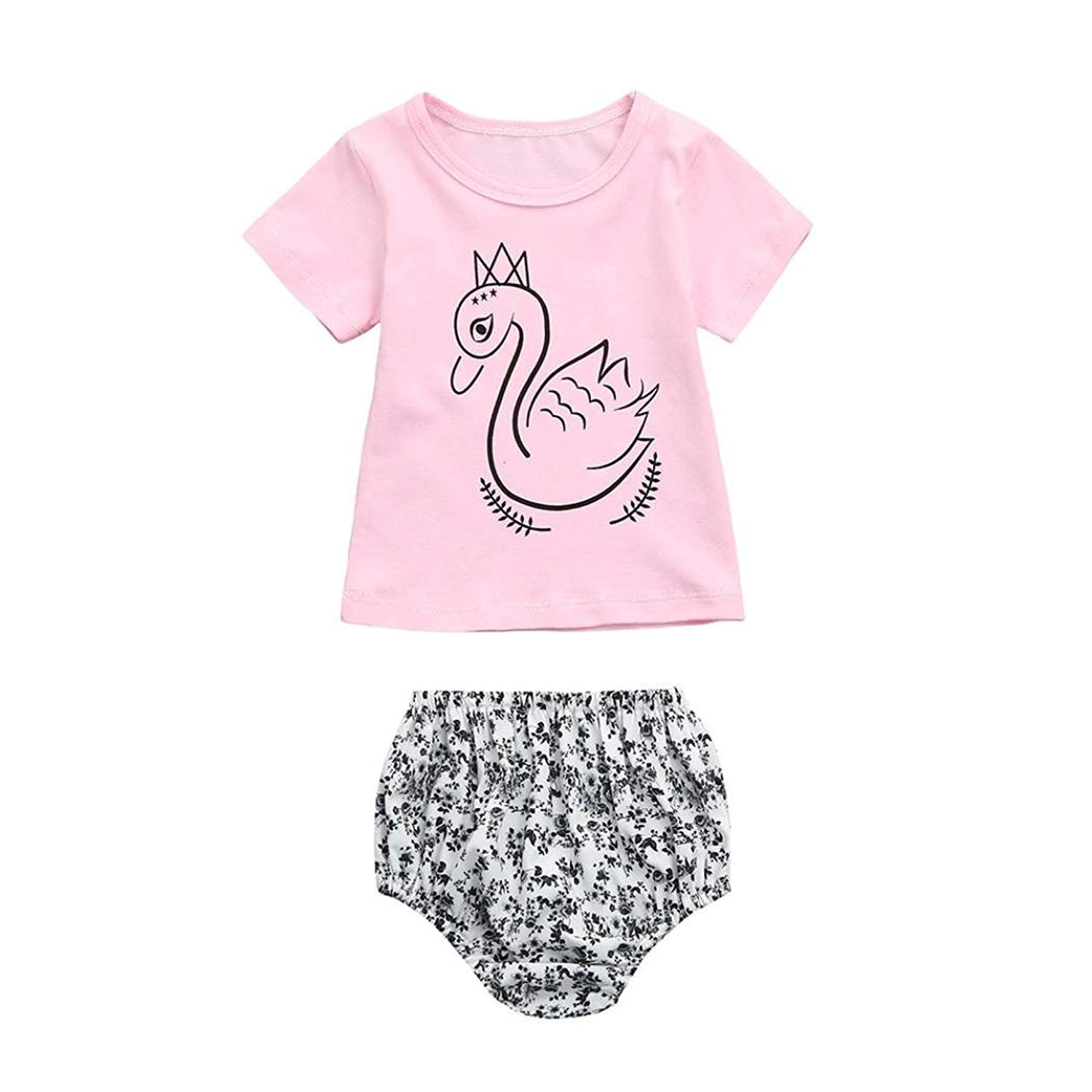 e790f24f ... Pants Kids Outfits. Get Quotations · Winsummer Cute Newborn Baby Girls  Short Sleeve Swan Print T-Shirt Top+High Waist