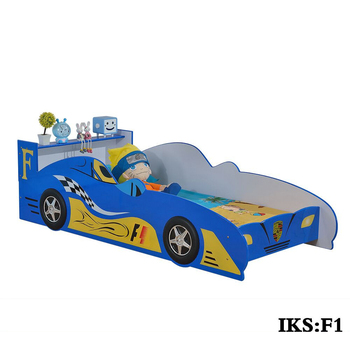 hot model smart kids furniture blue and yellow car bed specific use kids car bed furniture
