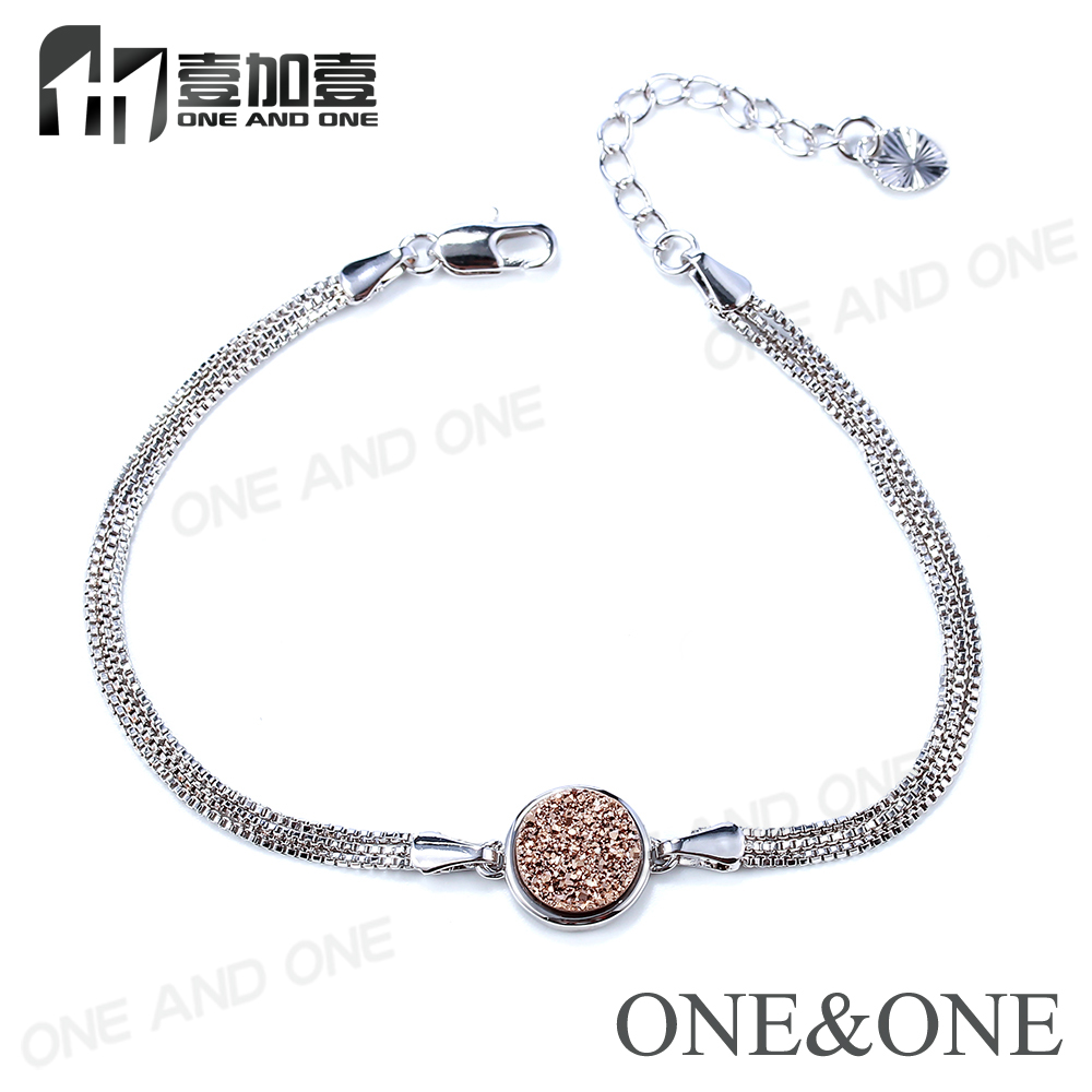 Fashion Bracelets 2018 Natural Druzy Agate Stone Silver Chain Bangles Best Selling New High Quality