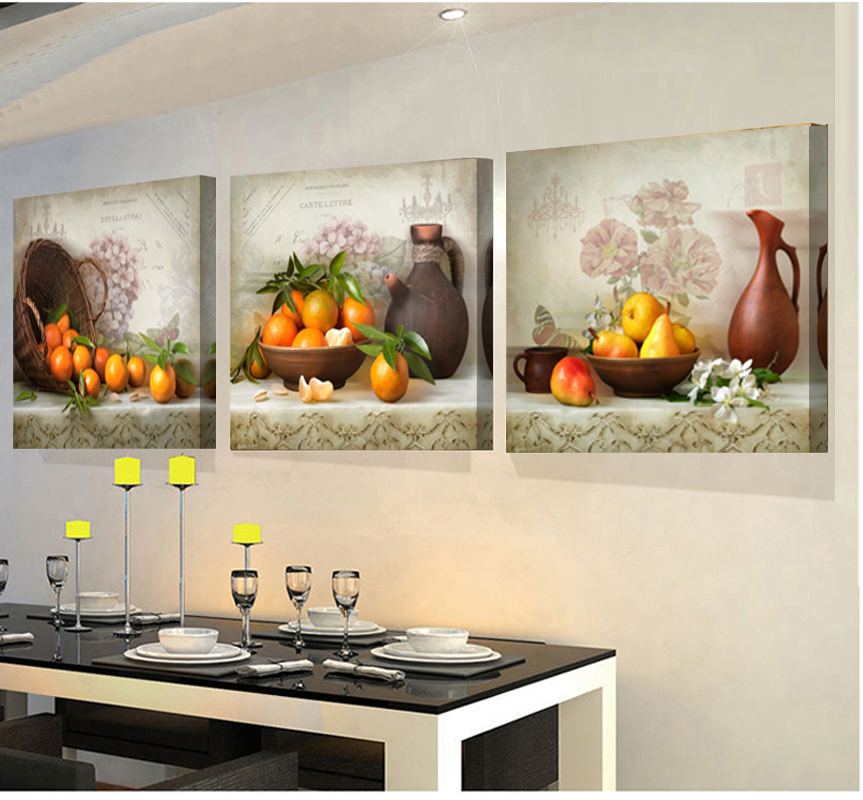 Kitchen Wall Painting Designs: 3 Panels Paintings For The Kitchen Fruit Wall Decor Modern