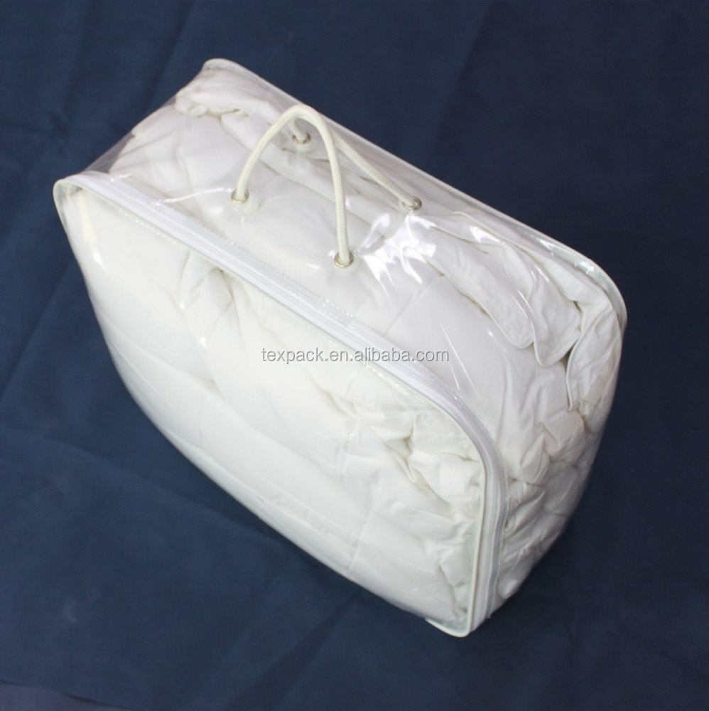 China good quality duvet vinyl bags durable packaging with two rope handles