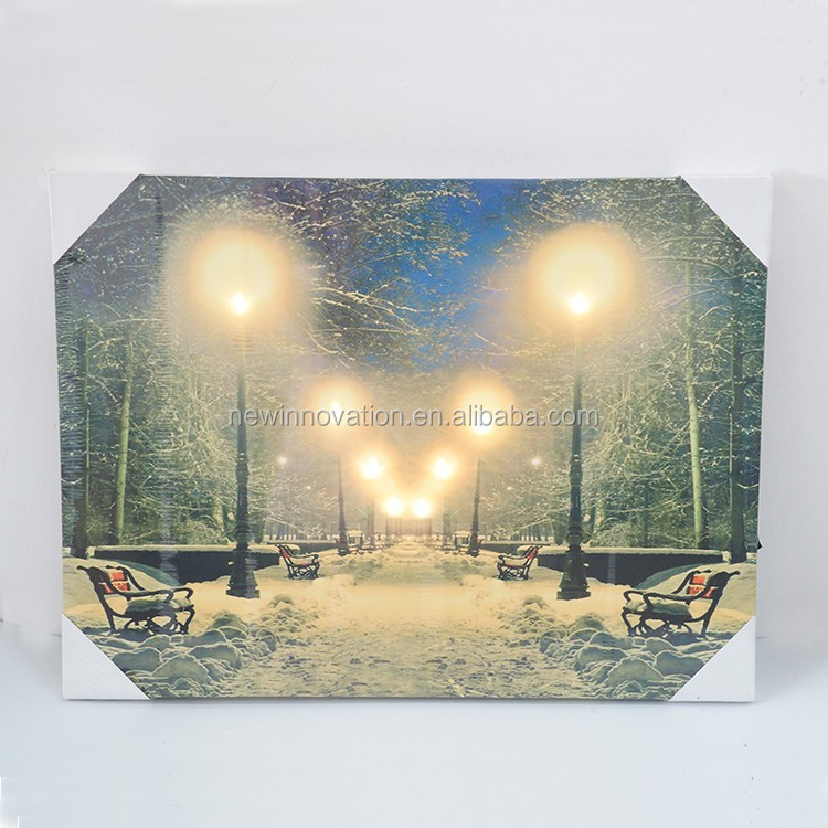 5 warm white led canvas painting with led light for Christmas decoration