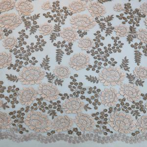 2018 Best French Mesh 3D flower pattern Lurex embroidery Fabric Lace Textile